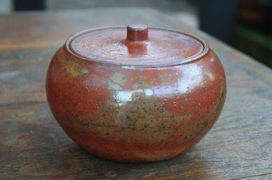 'Shino' lidded jar