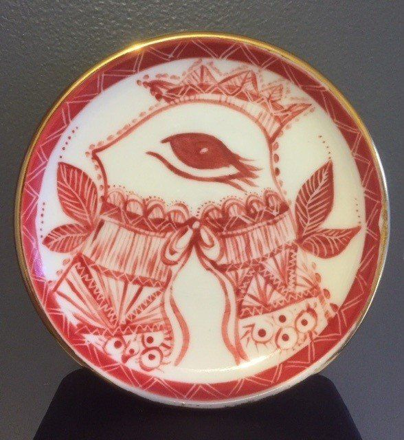Small Porcelain side plate with gold lustre