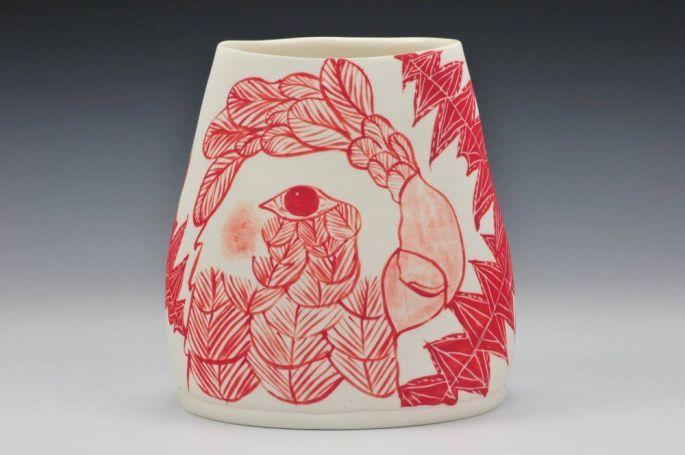 'Yellow tailed ,black cockatoo' vase -altered rim (image credit Charlie Cummings Gallery