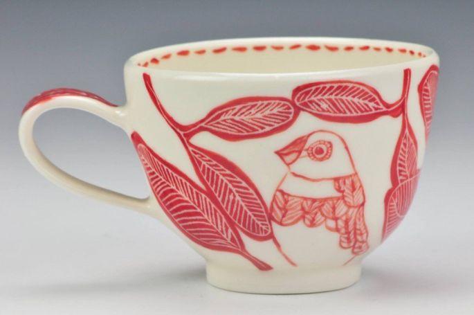 'Diamond Firetail' Porcelain teacup (image credit Charlie Cummings Gallery