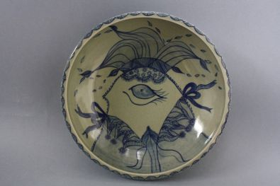 Celadon with cobalt decoration