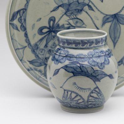 Platter and vase