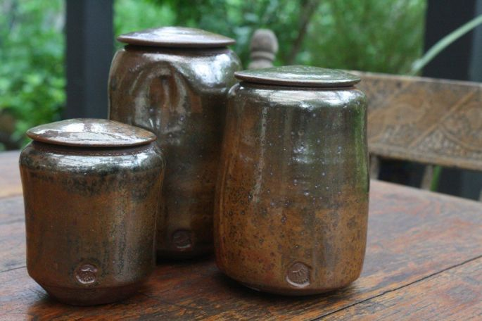 Shino Lidded Jars